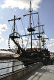Gdansk,Poland-august 25:Galleon on Motlawa river in Gdansk from Poland stock photo