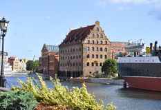 Gdansk,Poland-august 25:Historic Building on Motlawa river shore in Gdansk from Poland royalty free stock image