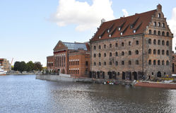 Gdansk,Poland-august 25:Historic Building on Motlawa river shore in Gdansk from Poland royalty free stock photos