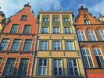 Colorful Houses of Gdansk Dluga Street Poland Stock Photos