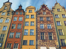 Colorful Houses of Gdansk Dluga Street Poland Royalty Free Stock Images