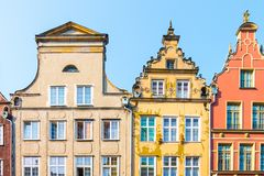 Long Market Street, typical colorful decorative medieval old houses, Royal Route Architecture of. GDANSK, POLAND - AUGUST, 2018: Long Market Street, typical stock photo