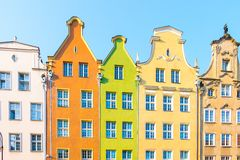 Long Market Street, typical colorful decorative medieval old houses, Royal Route Architecture of. GDANSK, POLAND - AUGUST, 2018: Long Market Street, typical royalty free stock images