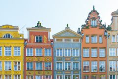 Long Market Street, typical colorful decorative medieval old houses, Royal Route Architecture of. GDANSK, POLAND - AUGUST, 2018: Long Market Street, typical stock photography