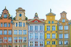 Long Market Street, typical colorful decorative medieval old houses, Royal Route Architecture of stock photos