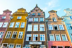 Long Market Street, typical colorful decorative medieval old houses, Royal Route Architecture of. GDANSK, POLAND - AUGUST, 2018: Long Market Street, typical royalty free stock photography
