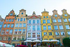 GDANSK, POLAND - AUGUST, 2018: Long Market Street, typical colorful decorative medieval old houses, Royal Route Architecture of royalty free stock image