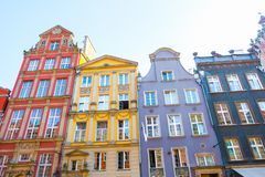 GDANSK, POLAND - AUGUST, 2018: Long Market Street, typical colorful decorative medieval old houses, Royal Route Architecture of stock photography
