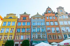 GDANSK, POLAND - AUGUST, 2018: Long Market Street, typical colorful decorative medieval old houses, Royal Route Architecture of stock images