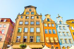 GDANSK, POLAND - AUGUST, 2018: Long Market Street, typical colorful decorative medieval old houses, Royal Route Architecture of royalty free stock photo
