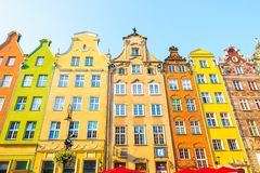 GDANSK, POLAND - AUGUST, 2018: Long Market Street, typical colorful decorative medieval old houses, Royal Route Architecture of. Mariacka street is one of most royalty free stock photos