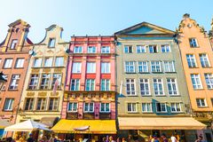 GDANSK, POLAND - AUGUST, 2018: Long Market Street, typical colorful decorative medieval old houses, Royal Route Architecture of. Mariacka street is one of most stock image