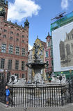 Gdansk,Poland-august 25:Neptune Statue downtown in Gdansk from Poland royalty free stock image