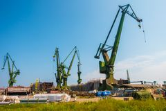 GDANSK, POLAND - AUGUST, 2018 : Gdansk Shipyard by Vistula river, the birthplace of polish Solidarity/ A view of shipyard and the stock photography