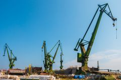 GDANSK, POLAND - AUGUST, 2018 : Gdansk Shipyard by Vistula river, the birthplace of polish Solidarity/ A view of shipyard and the stock images