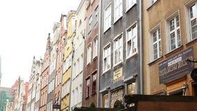 Gdansk Poland Centro de cidade velho Edifícios históricos video estoque