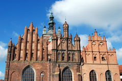 Gdansk, Poland: Church of St. Catherine. The Church of St. Catherine, built 1227-39 by the Dukes of Gdansk-Pomerania, with its three distinct brick gables is the Stock Photos