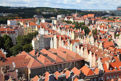 Gdansk. Poland - Gdansk city (also know nas Danzig) in Pomerania region. Old town aerial view Stock Images