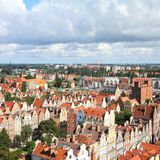 Gdansk. Poland - Gdansk city (also know nas Danzig) in Pomerania region. Old town aerial view. Square composition Royalty Free Stock Photo