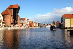 Gdansk. Poland - Gdansk city (also know nas Danzig) in Pomerania region. Old town view with Motlawa river and famous Crane Royalty Free Stock Images