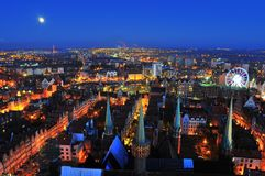 GDANSK, POLAND, DECEMBER 2, 2017. City view, cityscape of Gdansk view from St Mary`s Basilica tower. stock images