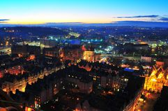 GDANSK, POLAND, DECEMBER 2, 2017. City view, cityscape of Gdansk view from St Mary`s Basilica tower. royalty free stock photography