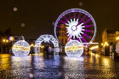 Traditional Christmas fair on Targ Weglowy in Gdansk, Poland Royalty Free Stock Image