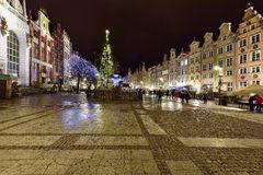 Gdansk, Poland - December 2015: beautiful architecture of the old town of Gdansk, Poland Royalty Free Stock Photo