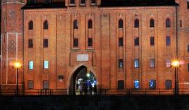 GDANSK, POLAND, DECEMBER 2, 2017.Brama Mariacka St. Mary`s Gate at nioght. Brick building royalty free stock photography