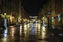 Gdansk, Poland - December 13, 2018: Christmas decorations in the old town of Gdansk , Poland royalty free stock photo