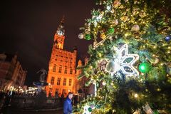 Gdansk, Poland - December 13, 2018: Christmas decorations in the old town of Gdansk , Poland royalty free stock photos