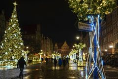 Gdansk, Poland - December 13, 2018: Christmas decorations in the old town of Gdansk , Poland stock photography