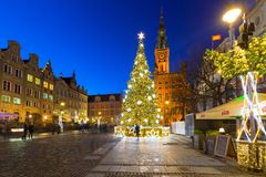 Christmas decorations in the old town of Gdansk, Poland. GDANSK, POLAND - DECEMBER 8, 2017: Christmas decorations in the old town of Gdansk, Poland. Gdansk is Stock Photos