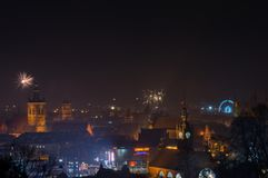 New Year`s Eve Fireworks launched in old town of Gdansk. Gdansk, Poland - December 31, 2017: New Year`s Eve Fireworks launched in old town of Gdansk Stock Photography