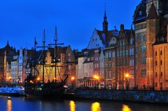 Gdansk, Poland, December 2017. Night photo of gdansk. Old town and river with ship Stock Photography