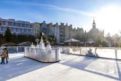 Ice Skating rink at traditional Christmas fair in Gdansk, Poland stock photo