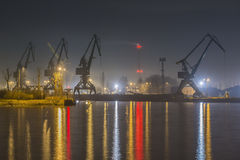 Gdansk, Poland, harbor at night. UE Royalty Free Stock Photography