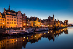 Gdansk, Poland. Gdansk harbor view at Motlawa river is the landmark of the Poland city. This is the most attractive view of the city. The night lights of the Royalty Free Stock Photography