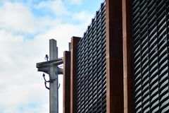 Three Crosses with anchors, a monument to the fallen workers of shipyard at Solidarnosti Square in Gdansk. Gdansk, Poland .19 January 2019. Three Crosses with royalty free stock photography