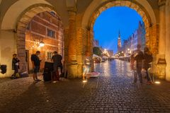 Architecture of the Long Lane in Gdansk at night. Royalty Free Stock Image