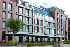 Hilton Hotel in Gdansk. Gdansk, Poland - June 26, 2018: Exterior view of luxury 5-stars Hilton Hotel located in the old town of Gdansk. Hilton Hotels & Resorts royalty free stock photography
