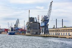 Gdansk Shipyard by Vistula river, the birthplace of polish Solidarity, Gdansk, Poland. GDANSK, POLAND - JUNE 5, 2018 : Gdansk Shipyard by Vistula river, the stock photo