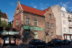 GDANSK, POLAND - JUNE 07, 2014: Old brick building on the Podmlynska street in historical part of Gdansk. Big part of the city was destroyed during the Second Royalty Free Stock Photo