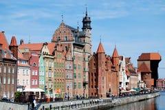 Gdansk, Poland: Mansões velhas de Quay Fotos de Stock Royalty Free