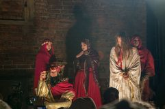 Historical reconstruction of biblical events at night. Mystery of the Passion Play of Jesus Christ in Gdansk. Gdansk, Poland - March 30, 2018: Historical Royalty Free Stock Photography
