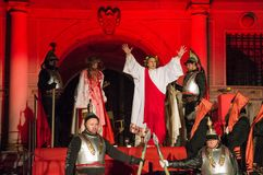 Historical reconstruction of biblical events at night. Mystery of the Passion Play of Jesus Christ in Gdansk. Gdansk, Poland - March 30, 2018: Historical Stock Photography