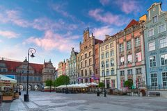 Architecture of the old town in Gdansk at sunrise, Poland. Gdansk, Poland - May 5, 2018: Architecture of the old town in Gdansk at sunrise, Poland. Gdansk is the Royalty Free Stock Photography