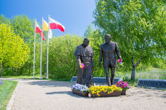 Gdansk, Poland - May 22, 2017: Monument of Pope John Paul II and President Ronald Regan at Ronald Regan Park in Gdansk-Przymorze. Stock Image