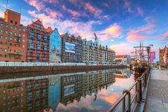 Architecture of the old town in Gdansk at sunrise, Poland. Gdansk, Poland - May 5, 2018: New buildings at Motlawa river in Gdansk at sunrise, Poland. Gdansk is Stock Photography