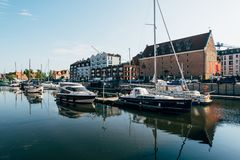 Gdansk Marina, Poland. Gdansk, Poland - May 10, 2018: Sailboats and luxury yachts moored in marina in Gdansk, Poland Royalty Free Stock Photo